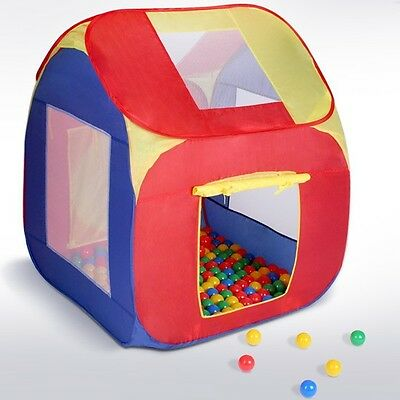 Child Play Pop Up Tent + 200 Balls Pool Pit Toy House Kid Bedroom Nursery Garden