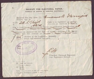 Malta Receipt for Electoral Paper of 8th division of Legislative Assembly 1923