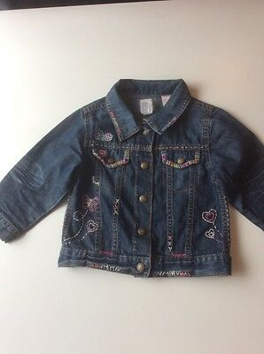 Baby Girl's baby GAP Denim Jacket with multicolour stitch detail Age 2 - 3 years