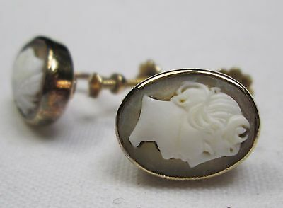 Antique Victorian 9ct Gold & Hand Carved Cameo Earrings Screw Fix