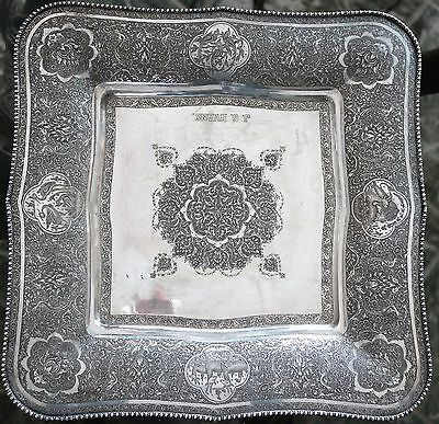 Persian Art Exhibition X-Large Antique Signed Solid Silver Tray Dish  34 X 34 Cm