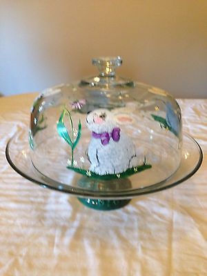 Handpainted Bunny Covered Cake Plate
