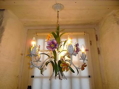 French exquisite 5 light chandelier tole lovely floral  vintage