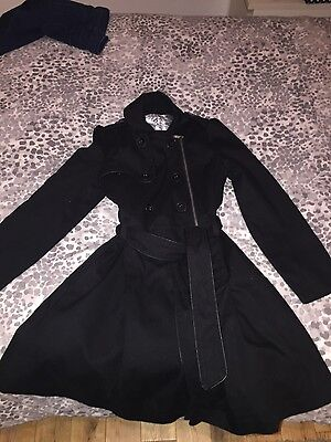 Girls Tammy size 12-13 black rainmack/trenchcoat/black smart coat