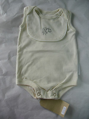 Baby Bodysuit 3-6 Months Cream Organic Cotton With Bib Designer New