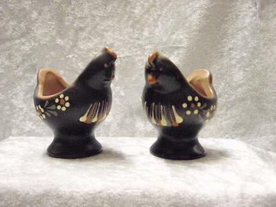 2 Hand Painted Studio Pottery Chicken Egg Cups