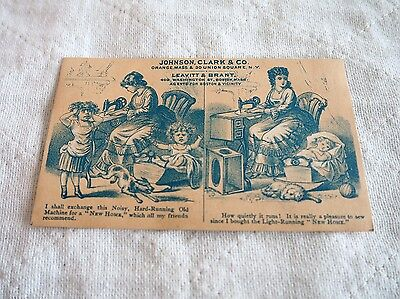 Vintage Victorian Trade Card, New Home Sewing Machine, Noisy Machine