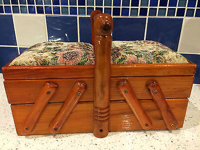 Vintage Traditional Wooden Sewing Box – Cantilever Action – Great!
