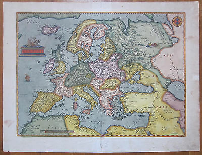 Ortelius Original Map Continent Europe Europae - 1584