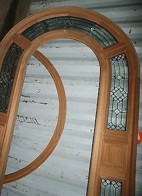 5Knew LEADED GLASS & Solid MAHOGANY ARCH TOP ENTRY DOOR SURROUND SIDELIGHTS