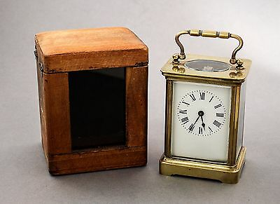 Antique brass carriage clock/mantlepiece travel case Roman numerals winds