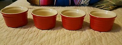 LE CREUSET  SET of 4 Ramikins Custard Cups Red/Brown Stoneware