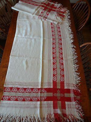 """ANTIQUE TURKEY RED LINEN TABLECLOTH FRINGED, CROCUS FLORAL, 56"""" x 92"""""""
