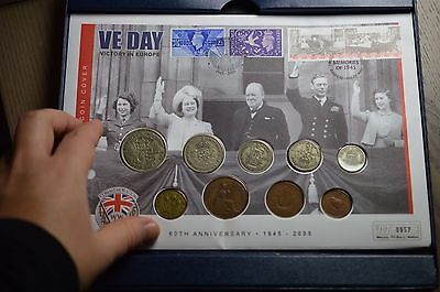 1945 Ve Day Coin Collection First Day Cover British Coins In Westminster Box