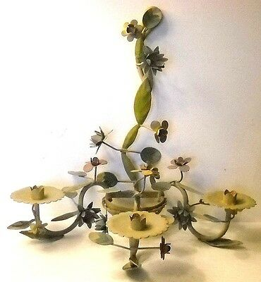 Vintage Floral Metal Wall Mount Candelabra * Muted Colors