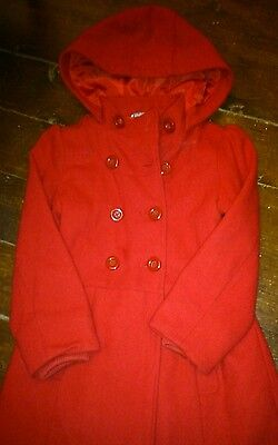 Girl's M and S red winter coat age 5-6