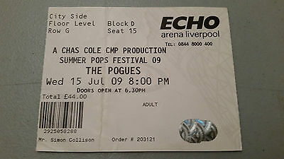 The Pogues Liverpool Arena 2009 Ticket Stub