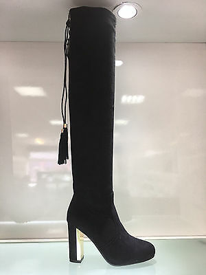 Ladies Womens Over Knee Black Suede Faux High Heel Tassel Boots Shoes Size 7