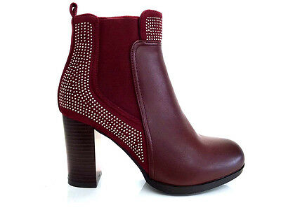 Ladies Womens Burgundy Ankle High Leather Style High Heel Boots Shoes Size 3