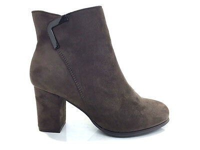 Ladies Womens Ankle High Khaki Suede Faux High Heel Boots Shoes Size 3