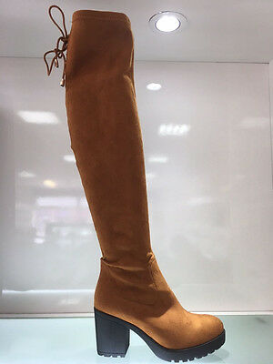 Ladies Womens Over Knee Camel/brown Suede Faux Mid Block Heel Boots Shoes Size 5