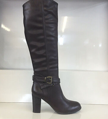 Ladies Womens Knee High Brown Leather Style High Heel Boots Shoes Size 3