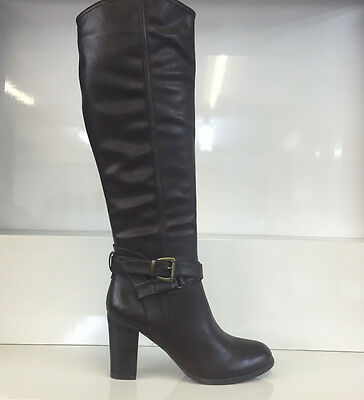 Ladies Womens Knee High Brown Leather Style High Heel Boots Shoes Size 5