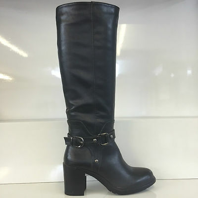 Ladies Womens Black Knee High Leather Style Mid Heel Boots Shoes Size 4