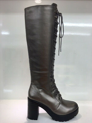 Ladies Womens Knee High Silver Leather Style High Heel Combat Boots Shoes Size 4