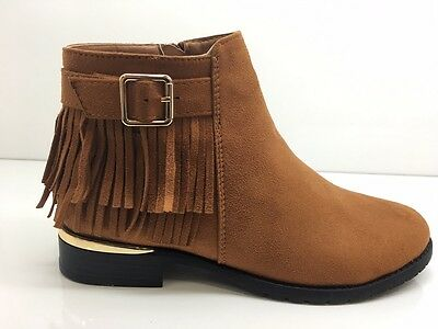 Ladies Womens Ankle High Camel Suede Faux Low Heel Tassel Chelsea Shoes Size 4