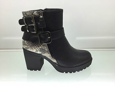 Ladies Womens Ankle High Snake Leather Style Chunky Heel Platform Boots Size 8