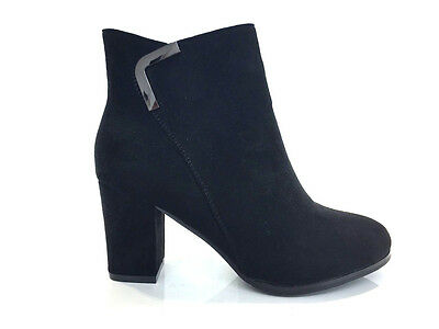 Ladies Womens Ankle High Black Suede Faux High Heel Boots Shoes Size 3