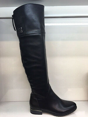 Ladies Womens Over Knee High Black Leather Style Low Heel Boots Shoes Size 8