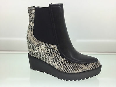 Ladies Womens Ankle High Snake Leather Style Wedge Heel Platform Boots Size 4
