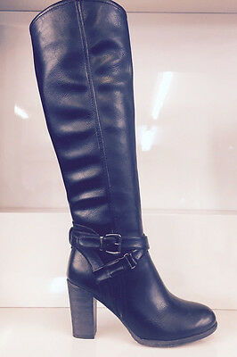 Ladies Womens Knee High Black Leather Style Low Heel Quilted Boots Shoes Size 5