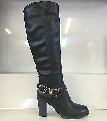 Ladies Womens Black Knee High Leather Style High Heel Boots Shoes Size 7