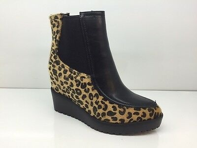 Ladies Womens Ankle High Leopard Style Wedge Heel Platform Boots Size 5