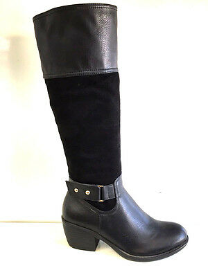 Ladies Womens Black Knee High Leather And Suede Faux Mid Heel Boots Shoes Size 7