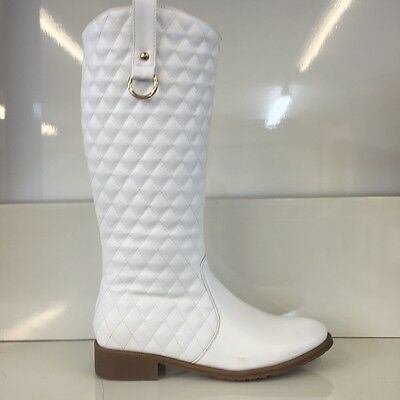 Ladies Womens Knee High White Leather Style Low Heel Quilted Boots Shoes Size 4