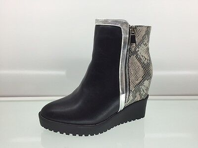 Ladies Womens Ankle High Snake Leather Style Wedge Heel Platform Boots Size 5
