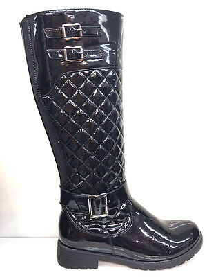Ladies Womens Knee High Black Leather Faux Low Heel Quilted Boots Shoes Size 8