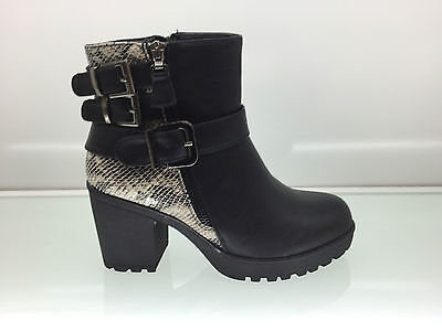 Ladies Womens Ankle High Snake Leather Style Chunky Heel Platform Boots Size 7