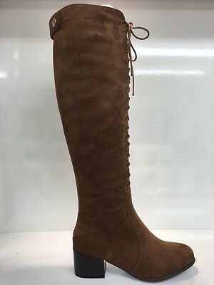 Ladies Womens Knee High Camel Lace Up Suede Style Mid Heel Boots Shoes Size 4