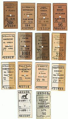 Railway Tickets France, 14 No. St Quentin to Brissay & Hamegicourt, Savy, Etc
