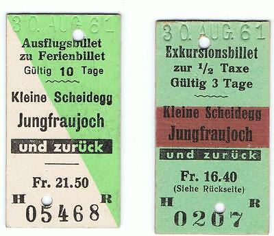 Railway Tickets Switzerland, 2 No. Kleine Scheidegg to Jungfraujoch (J B)