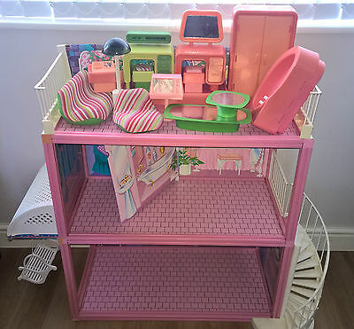 Vintage 1980's Barbie Glamour Home House With Various Bits Of Furniture