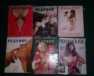lot of 6 vintage magazines playboy penthouse gallery 1970's