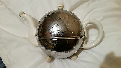 Vintage Retro Art Deco Teapot With Chrome Opening Hinged Cover