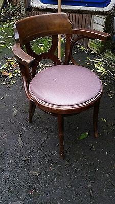 Unusual Old Antique  Fancy Bentwood Carver Chair Woven Seat