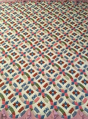 AMISH MADE New Handmade Double Wedding Ring Quilt Queen/King - NWOT